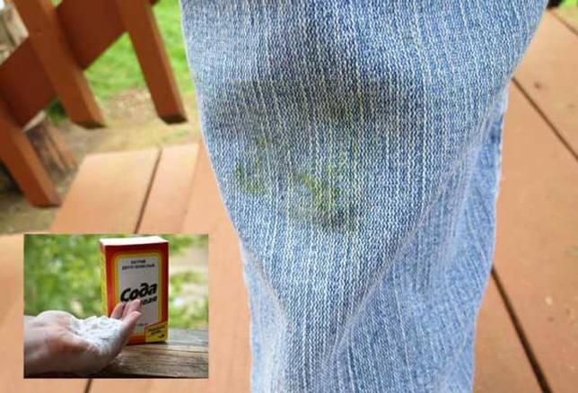 как удалить траву с джинс с помощью соды